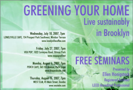 Sustainable Home Design Seminars coming to Brooklyn!