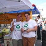 Coquille Houshour and Micky Josi from Educating Tomorrow promote recycling in public schools